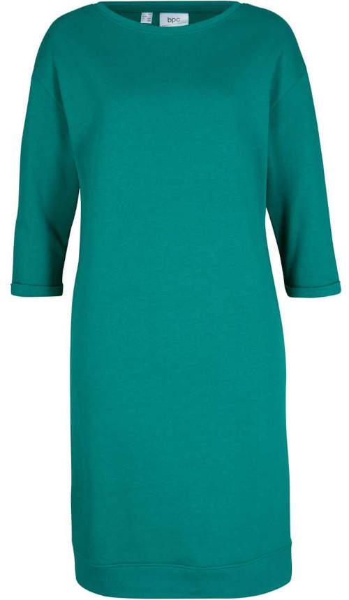 Zelené dámske mikinové šaty s lodičkovým výstrihom