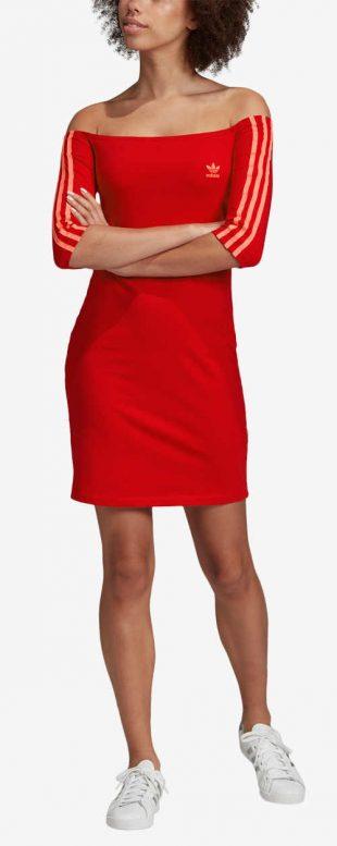 Zľavnené červené dámske športové šaty Adidas
