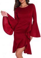 Červené dámske spoločenské šaty so širokými zvonovými rukávmi