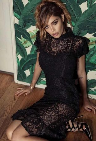 Čierne čipkované spoločenské šaty Inia