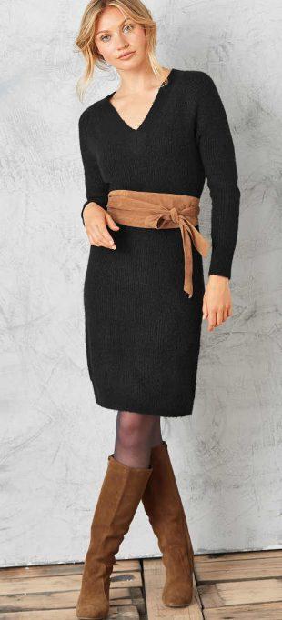 Dámske čierne pulóvrové šaty s vrkočovým vzorom