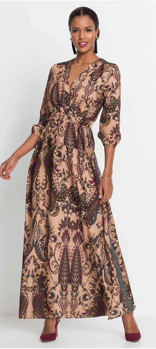 Dámske maxi šaty s kašmírovým vzorom