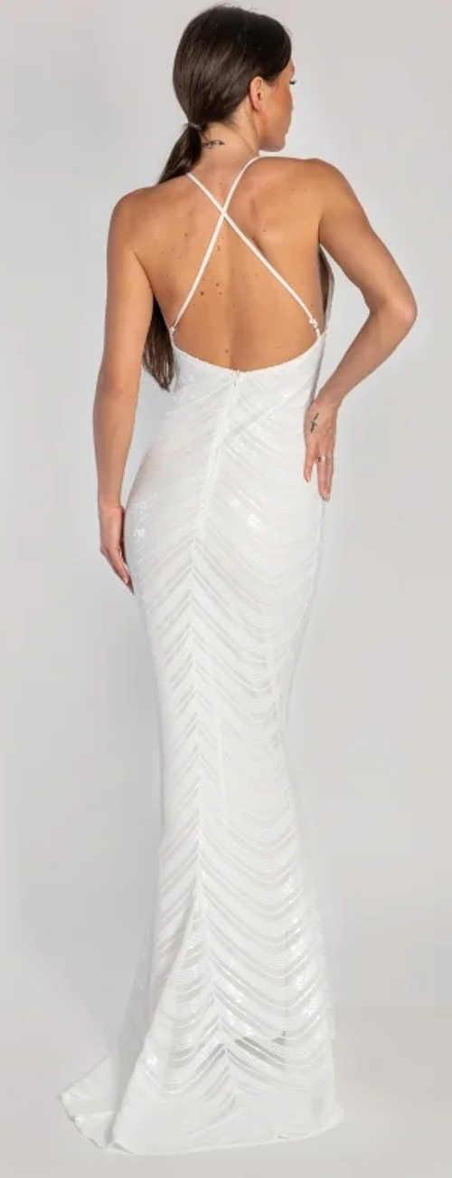 Dlhé biele tesné spoločenské šaty s odhaleným chrbtom