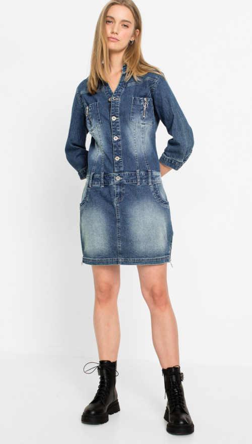 Džínsové šaty s gombíkmi