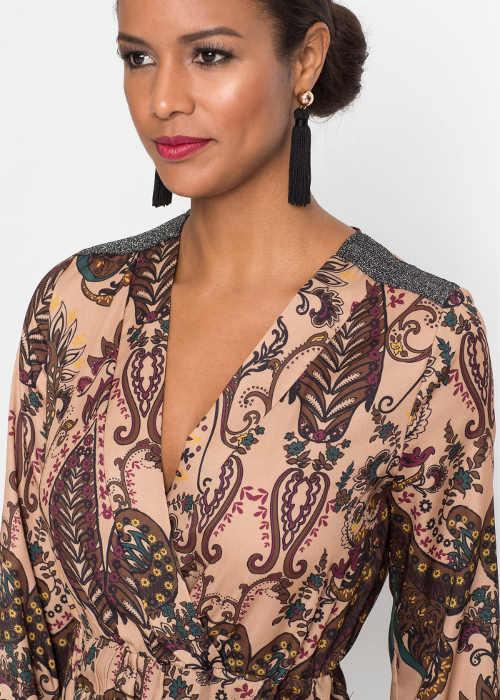 Hnedé dámske maxi šaty s kašmírovým vzorom