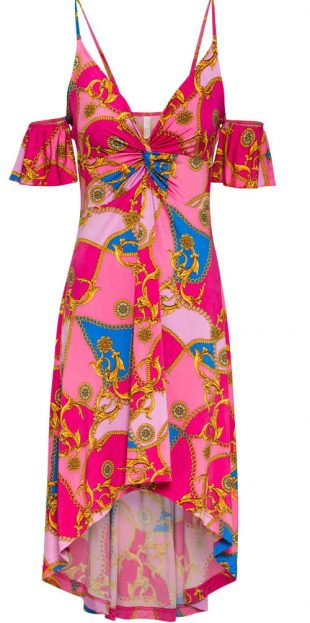 Letné šaty s odhalenými ramenami v jasných farbách