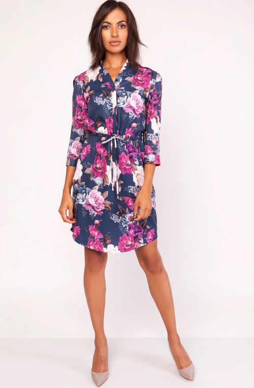 Luxusné dámske šaty nad kolená s kvetinovým vzorom