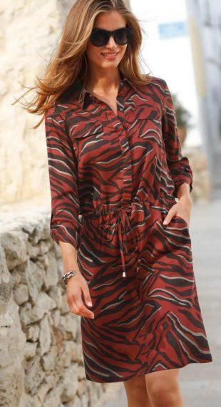 Moderné dámske košeľové šaty s farebnou potlačou