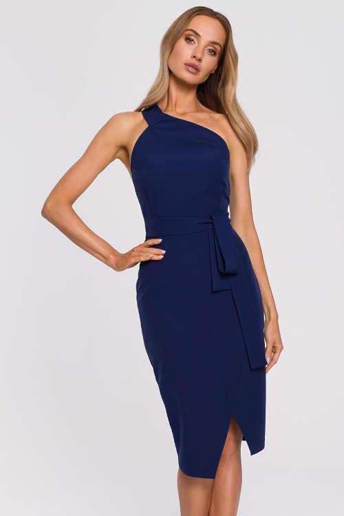Moderné dámske šaty na jedno rameno v midi dĺžke