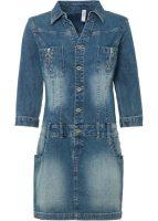 Moderné džínsové mini šaty so zníženým pásom a 3/4 rukávmi
