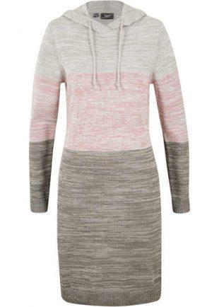 Moderné pletené šaty s kapucňou a dlhými rukávmi