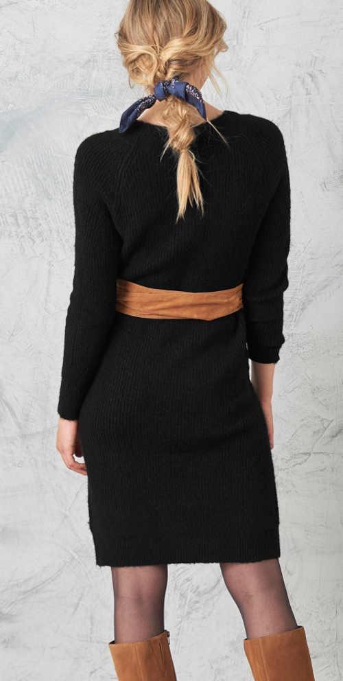 Moderné pulóverové šaty s dĺžkou po kolená