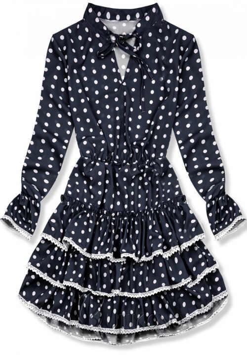 Tmavomodré dámske šaty s bodkami a čipkovanými volánmi