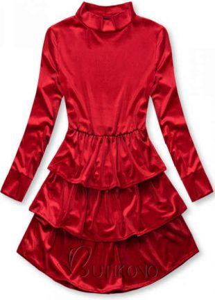 Volánové šaty so stojanom pri krku z lesklého zamatu