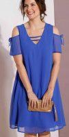 Voľné modré letné šaty s odhalenými ramenami
