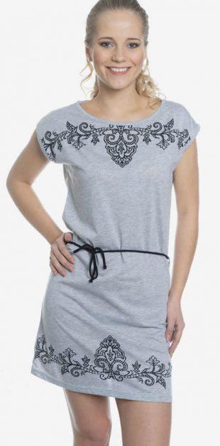 Zľavnené sivé letné šaty s kvetinovou výšivkou