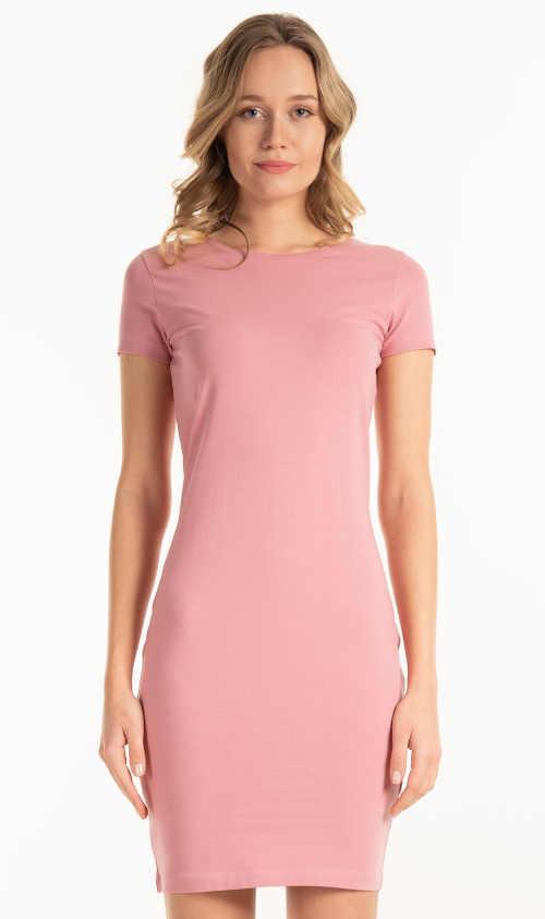 Moderné jednoduché dámske trikové šaty s krátkymi rukávmi